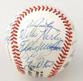 Autographs:Baseballs, Baseball Stars Multi-Signed Baseball with Several Hall of Famers.Amazing collection of twenty-two signatures populate near...
