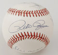 Autographs:Baseballs, 3,000 Hits Club Multi-Signed Baseball. Major League Hit King PeteRose holds fort on the sweet spot of this theme-signed ON...