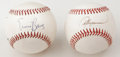 Autographs:Baseballs, Baseball Stars Signed Baseballs Lot of 2. Four baseball starsoccupy the surface of the offered orbs, with an ONL (Giamatti...(Total: 2 Items)