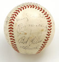 Autographs:Baseballs, 1941 Cleveland Indians Team Signed Baseball. The offered vintageOAL (Harridge) baseball has applied to its leather 22 sign...