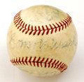 Autographs:Baseballs, 1950 Philadelphia Athletics Team Signed Baseball with Connie Mack.Nice sweet spot signature appears on this unofficial bas...