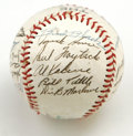 Autographs:Baseballs, 1955 Detroit Tigers Team Signed Baseball. Twenty-nine signaturesfrom the 1955 Detroit Tigers squad are offered on this sou...