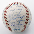 Autographs:Baseballs, 1959 Milwaukee Braves Team Signed Baseball. Offered here is an ONL(Giles) baseball from 1959, signed by twenty-four member...