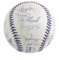 Autographs:Baseballs, 1999 New York Yankees Team Signed Joe DiMaggio Commemorative Baseball. The league paid tribute to a New York hero when they...