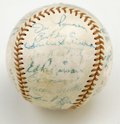 Autographs:Baseballs, 1955 New York Yankees Team Signed Baseball. Fine vintage officialSpalding baseball has been graced by 26 pinstripers from ...