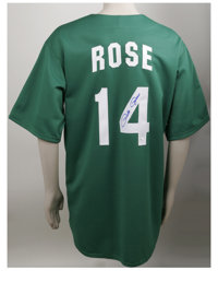 Pete Rose Signed St. Patrick's Day Philadelphia Phillies Jersey. This fabulous Cooperstown Collection Majestic green Phi...