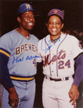 Autographs:Photos, Hank Aaron and Willie Mays Dual-Signed Oversized Photograph.Classic image dates from the 1976 season, which was the final ...