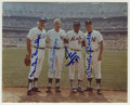 Autographs:Photos, Mantle, Mays, Snider and DiMaggio Multi-Signed Photograph. The NewYork centerfield contemporaries Mays, Mantle and Snider ...