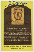 Autographs:Post Cards, Joe DiMaggio Signed Gold Hall of Fame Plaque. Perfect example ofthe Yankee Clipper's highly sought-after autograph resides...