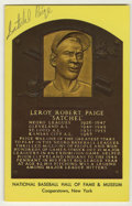 Autographs:Post Cards, Satchel Paige Gold Signed Hall of Fame Plaque. The thrillingpitcher Satchel Paige dazzled the Negro Leagues and was alread...