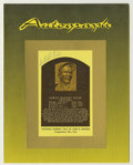 Autographs:Post Cards, Satchel Paige Gold Signed Hall of Fame Plaque. One of two Paige gold HOF plaque postcards in this auction, the offered exam...