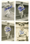 Autographs:Post Cards, Stan Musial Signed Postcards Lot of 4. The lefty slugger Stan Musial was a symbol for consistency at the plate, with a care...