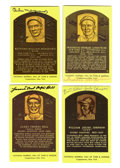 Autographs:Post Cards, Signed Gold Hall of Fame Plaques Lot of 4. Offered here is a finequartet of signed gold HOF plaque postcards, one each fro...