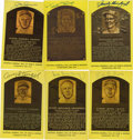 Autographs:Post Cards, Signed Gold Hall of Fame Plaques Lot of 6, with Signed Photograph and Index Card. Here we offer a fine collection of Hall of...