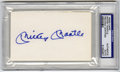 "Autographs:Index Cards, Mickey Mantle Signed Index Card PSA Authentic. Unlined 3x5"" indexcard sports a stunning blue sharpie signature courtesy of..."