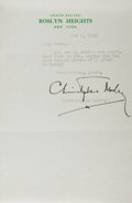 Autographs:Authors, Christopher Morley, American Author and Journalist. Typed LetterSigned. Overall fine....