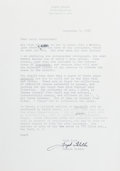 Autographs:Authors, Joseph Heller, American Author. Typed Letter Signed. Overallfine....