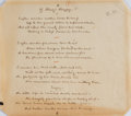 Autographs:Authors, Eugene Field, American Author. Autograph Poem. In author's hand and without signature. Very good....
