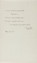 Autographs:Authors, Eugene Field, American Author. Autograph Letter Signed. Very good....