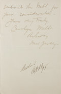 Autographs:Authors, Carolyn Wells, American Author and Poet. Autograph Letter Signed.Two pages. Very good....