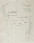 Autographs:Authors, E. Phillips Oppenheim, British Novelist. Typed Letter Signed. Residue to verso. Very good....