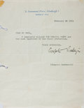 Autographs:Authors, Compton Mackenzie, Scottish Novelist. Typed Letter Signed. Very good....