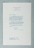 Autographs:U.S. Presidents, Patricia Nixon, Wife of President Richard Nixon. Typed LetterSigned. Overall fine....