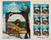 Grateful Dead Wake of the Flood Uncut Poster and Postcard Proof Sheet Signed by Rick Griffin