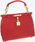 Luxury Accessories:Bags, Kieselstein Cord Red Leather Clock Classic Trophy Top Handle Bag....