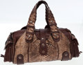 Luxury Accessories:Bags, Chloe Python and Brown Leather Silverado Shoulder Bag. ...