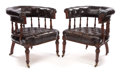 Furniture , PAIR OF MAHOGANY AND LEATHER CLUB CHAIRS . England, circa 1910. 31 x 28-1/2 x 26 inches (78.7 x 72.4 x 66.0 cm). ... (Total: 2 Items)