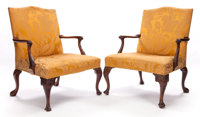 PAIR OF GEORGE III-STYLE CARVED MAHOGANY LIBRARY ARMCHAIRS circa 1900 38 x 28-1/2 x 29 inches (96.5 x 72.4 x 7