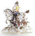 Ceramics & Porcelain, Continental:Antique  (Pre 1900), A MEISSEN PORCELAIN FIGURAL GROUP: HUNTER ON HORSEBACK WITHDOGS . Late 19th century. Marks: (crossed swords) T10...