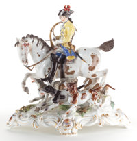 A MEISSEN PORCELAIN FIGURAL GROUP: HUNTER ON HORSEBACK WITH DOGS Late 19th century Marks