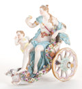 Ceramics & Porcelain, A MEISSEN PORCELAIN FIGURAL GROUP: VENUS AND CUPID IN A CHARIOT . Late 19th century. Marks: (crossed swords), 2260...