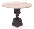 Furniture , AN IRON AND MARBLE TABLE . 20th century. 28-1/2 inches high x 36 inches diameter (72.4 x 91.4 cm). FROM THE EDMUND P. PILL... (Total: 2 Items)
