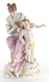 A MEISSEN PORCELAIN FIGURAL GROUP: VENUS AND CUPID  Late 19th century Marks: (crossed swords)