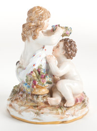 A MEISSEN PORCELAIN FIGURAL GROUP Late 19th century Marks: (crossed swords), L164 4-1/2 inches h