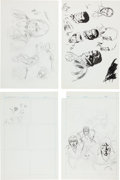 Original Comic Art:Miscellaneous, Bob Brown Preliminary Drawing Comic Page Original Art Group(Marvel, c. 1970s).... (Total: 4 Items)