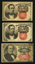 Fractional Currency:Fifth Issue, A Trio of Fifth Issue Short Thick Key Notes Very Good to Fine.. ...(Total: 3 notes)