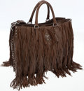 Luxury Accessories:Bags, Prada Brown Leather Nappa Fringe Tote Bag. ...