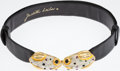 Luxury Accessories:Accessories, Judith Leiber Black Lizard Belt with Crystal and Cabochon FrogClasps. ...