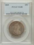 Early Quarters: , 1805 25C VG8 PCGS. PCGS Population (50/334). NGC Census: (20/189).Mintage: 121,394. Numismedia Wsl. Price for problem free...