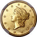 Gold Dollars, 1849-C G$1 Closed Wreath MS62+ NGC. Variety 1....