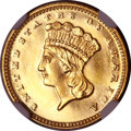 Gold Dollars, 1875 G$1 MS64+ ★ NGC. CAC....