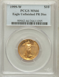 1999-W $10 Quarter-Ounce Gold Eagle, Unfinished Proof Dies, MS66 PCGS. PCGS Population: (30/2198). NGC Census: (9/2328)...