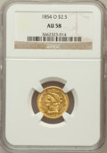 Liberty Quarter Eagles: , 1854-O $2 1/2 AU58 NGC. NGC Census: (157/33). PCGS Population(30/30). Mintage: 153,000. Numismedia Wsl. Price for problem ...
