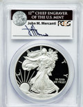 Modern Bullion Coins, 2011-W $1 One Ounce Silver American Eagle Insert autographed ByJohn M. Mercanti,12th Chief Engraver of the U.S. Mint, PR70 D...