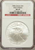 Modern Bullion Coins, 2006 $1 One Ounce Silver Eagle First Strike MS69 NGC. NGC Census:(63162/2228). PCGS Population (138866/346)....