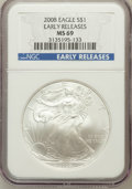 Modern Bullion Coins, 2008 $1 One Ounce Silver Eagle Early Releases MS69 NGC. NGC Census:(42914/4152). PCGS Population (300480/10761)....